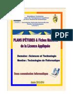 PLAN D'ETUDES TECHNOLOGIES DE L'INFORMATIQUE SEPTEMBRE 2014