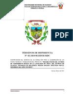 TDR 02 - CONSULTOR PARA LA  la para la elaboración de las fichas técnicas y viabilización del proyecto SANEAMIENTO VINUC