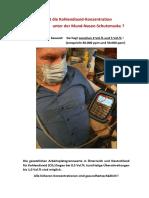 Les valeurs de CO2 sous les masques. Dossier fourni par l'ingénieur Dr Helmut Traindl