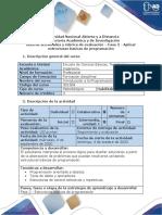 Guía de actividades y Rubrica de evaluación - Fase 2 - Aplicar estructuras básicas de programación