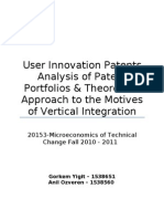 User Innovation Patents - An analysis of Patent Porftolios and Theoritical Approach to the motives of Vertical Integration