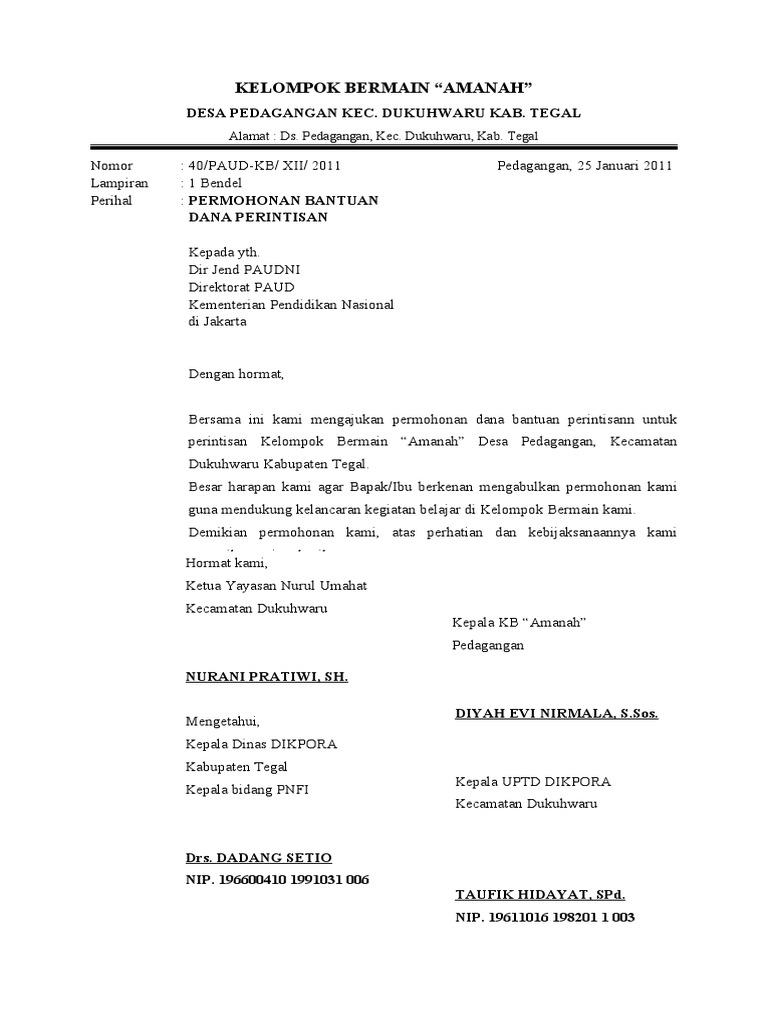 Contoh Surat Dinas Permohonan Bantuan Dana Untuk Kegiatan ...