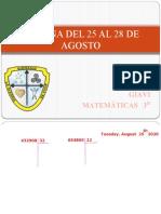 PRESENTACIÓN clase tercero SEMANA DEL 25 AL 28 DE AGOSTO