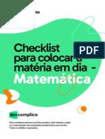 Checklist para colocar a matéria em dia - Matemática