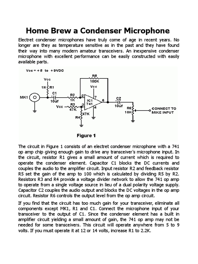 World Technical Preamplifier Circuit For Electret Condenser