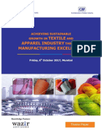 Achieveing Sustainable Growth in Textile and Apparel Sector through Manufacturing Excellence