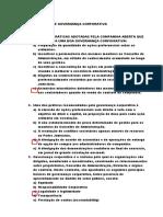 RESPOSTAS - EXERCÍCIOS SOBRE GOVERNANÇA CORPORATIVA27082020Pós.docx