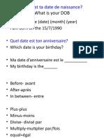 date de naissance