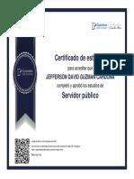 certificado de servidor publico jefferson david gzman