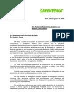Carta al gobernador de Salta