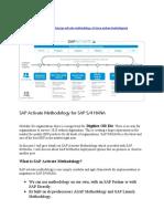 SAP Activate Methodology for SAP S4 HANA