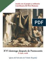 XVI Domingo Despues de Pentecostes. Propio y Ordinario de la santa misa
