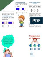 triptico COMPARACION DE FRACCIONES