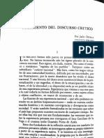 Julio Ortega. Nacimiento del discurso critico.
