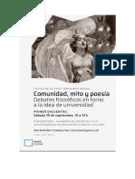 Programa Comunidad, mito y poesía 2020