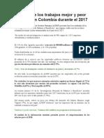 Ranking de los trabajos mejor y peor pagados en Colombia durante el 2017