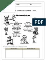 Atividade de Ed. Física 4 Bloco - PDF