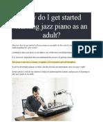 Jazz Piano Peices of advice