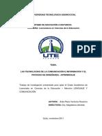 AVILA PLAZA Tecnologías de comunicación e información y proceso de enseñanza-aprendizaje