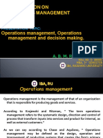 PRESENTATION ON OPERATIONS MANAGEMET. D-080001