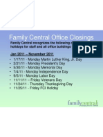 FCI Holiday Closings 2011