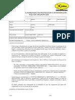 HOJA DE INSCRIPCION CURSO DE TECNICAS AVANZADAS EN PROTECCION E INTERVENCION