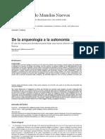 De la arqueología a la autonomía