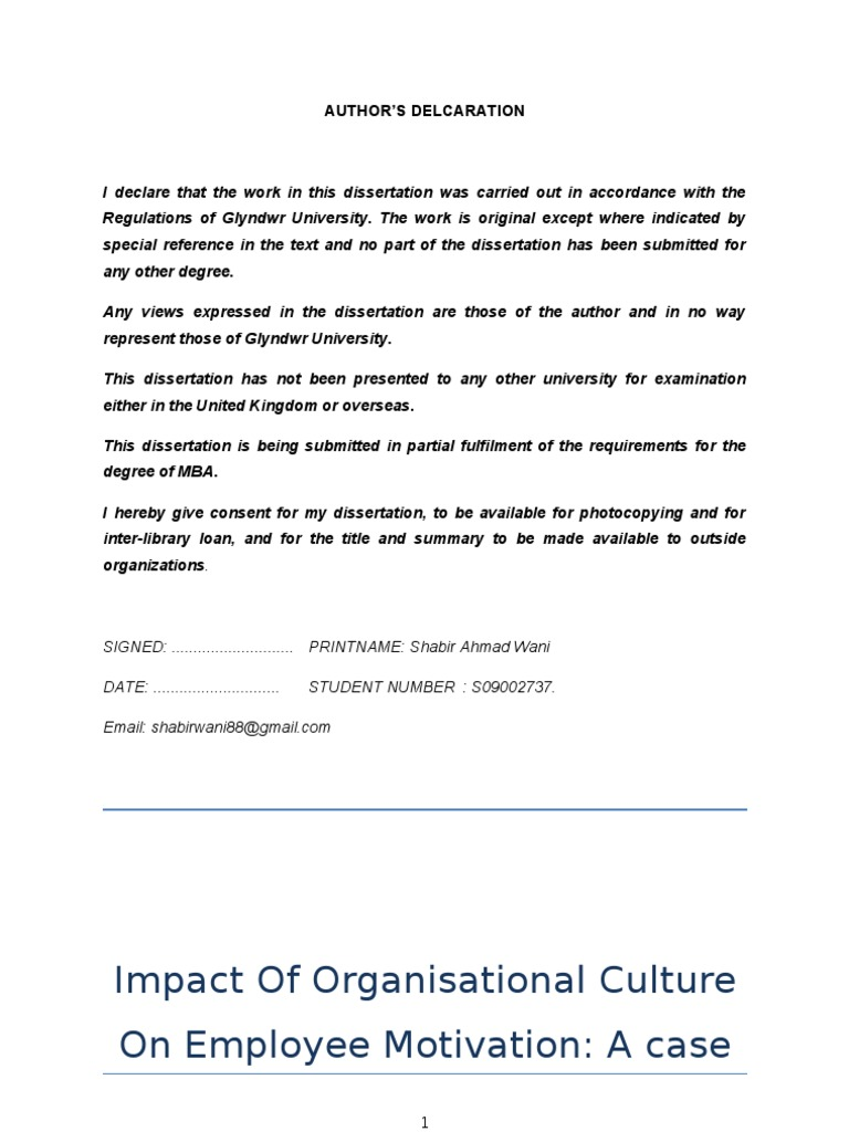 organisational culture dissertation