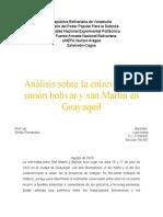 Analisis sobre la entrevista de Simon Bolivar y San Martin en Guayaquil