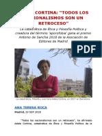 """ADELA CORTINA- """"TODOS LOS NACIONALISMOS SON UN RETROCESO"""""""