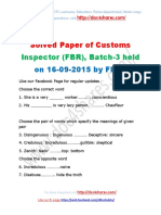 Solved Paper of Customs Inspector (FBR), Batch-3 held on 16-09-2015 by FPSC
