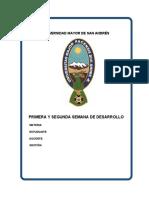 PRIMERA Y SEGUNDA SEMANA DE DESARROLLO