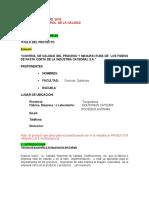 PROYECTO  A CONTROL DE   LA CALIDAD MARZO - 2019
