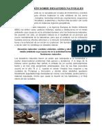 INFORMACIÓN SOBRE DESASTRES NATURALES