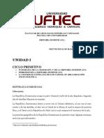 INVESTIGACION UNIDAD I GEOGRAFIA Y CICLO PRIMITIVO HISTORICO RD