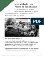 Fala de Lula no velório de dona Marisa-PT