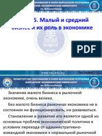 тема 15. МСБ и его роль в экономике