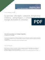 LA PERSONA_ ALTERIDAD Y COMUNIÓN Perspectivas trinitaria, antropológica y  eclesiológica en la teología de Ioannis D. Zizioulas