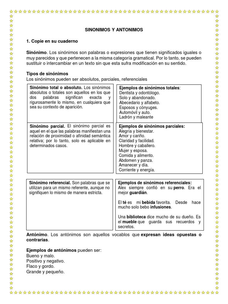 Sinonimos y Antonimos   PDF   Lexicología   Semántica léxica