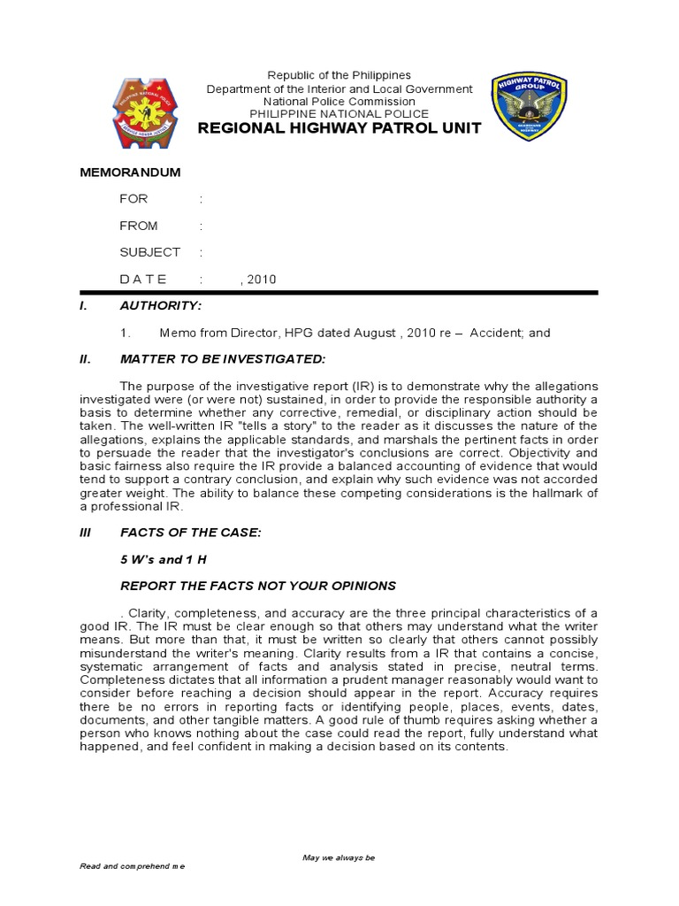 REVISED FORMAT TRAFFIC ACCIDENT INVES REPORT FORM 1 – Sample Police Reports