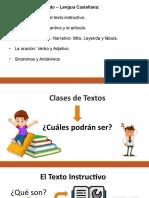 Clases de Textos Instructivo y la oración