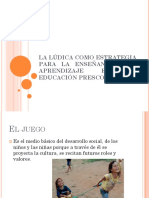 La ludica como estrategia para la enseñanza y el aprendizaje de la educación prescolar