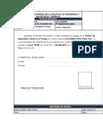 F 01CONSTANC. DE ENT. DE POLIT.  DE SST. F 01