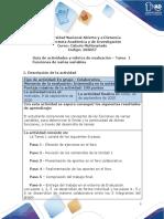 Guía de actividades y rúbrica de evaluación - Unidad 1 - Tarea 1 - Funciones de varias variables