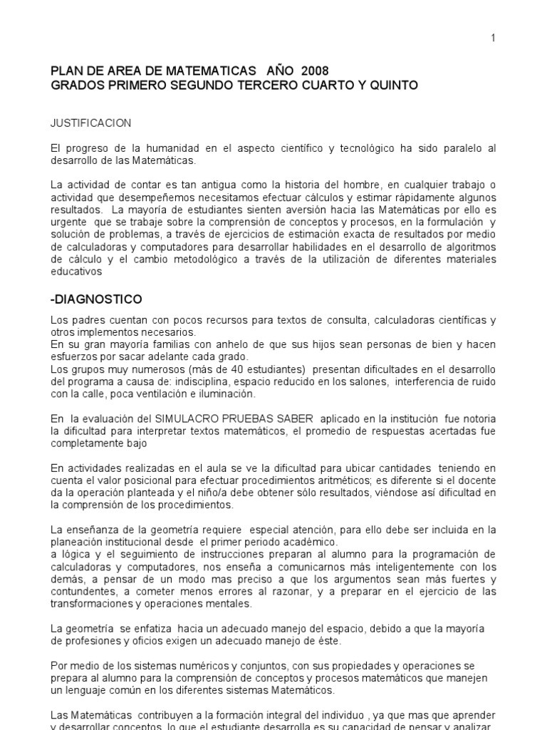 PLAN DE AREA MATEMATICAS 2008