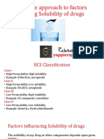 Quantitative approach to factors affecting solubility of drugs