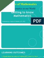 Getting to Know Mathematics