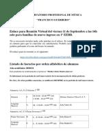 Listados de horarios de alumnos de 1º de básicas y ENLACE REUNIÓN VIRTUAL 1º EEBB.pdf