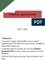 2-Filtration glomérulaire 2019