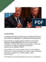 El capítulo sobre Venezuela del libro deJOHN BOLTON